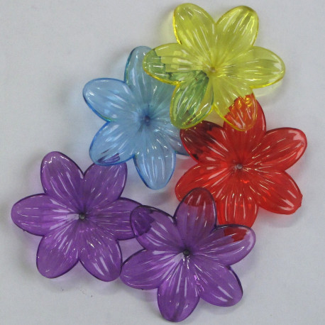 SALE149 - Large, Lucite Flowers, Mixed Colours, Pack of 5.
