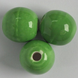 SALE156 - Large Holed Porcelain Beads, Light Green Coloured.