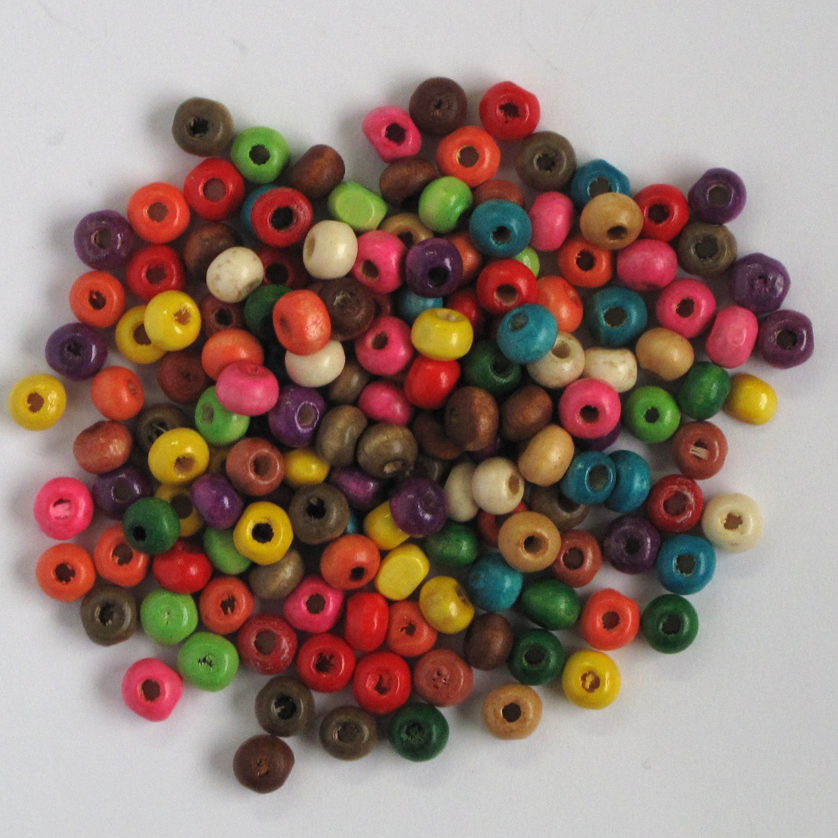Small Sized Wooden Beads Mixed Colours