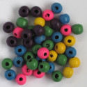 Small sized wooden beads, mixed colours.