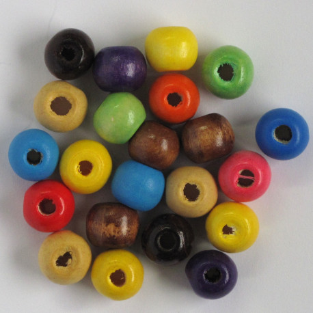 SALE168 - Medium Sized Wooden Beads, Mixed Colours.