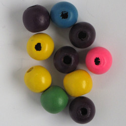 Medium sized wooden beads, mixed colours.