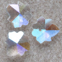 Crystal, clear AB broad leafed pendant, pack of 3.