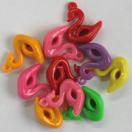 SALE173 - Swan Pendants, Mixed Colours, Pack of 10.