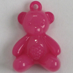 Teddy pendant, deep pink colour, pack of 1.