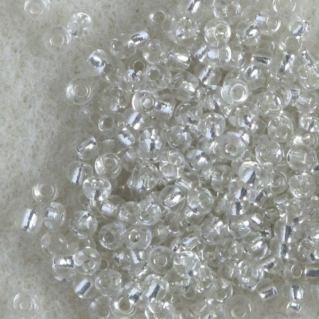 SBSL1101 -  Size 11 Silver Lined, Clear Seed Beads. Pack of 20g.