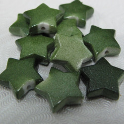 SALE177 - Green star beads.Pack of 10