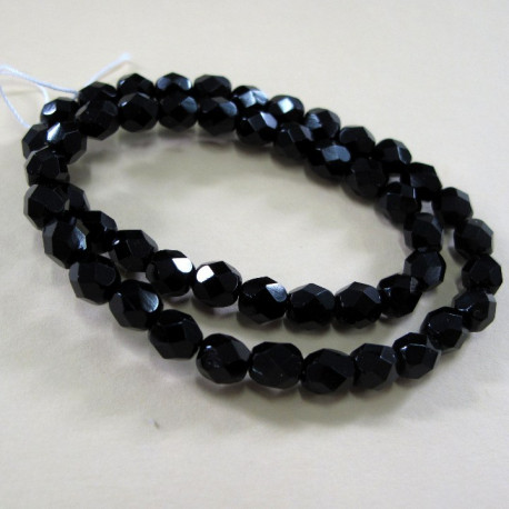 FP6012 - Black 6mm fire polished beads. Pk of 50