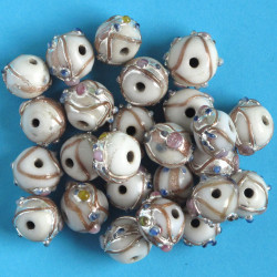 GB6022 - White Wedding Cake Beads, Per Strand.