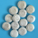 White and antique silver coloured coin bead, per strand.
