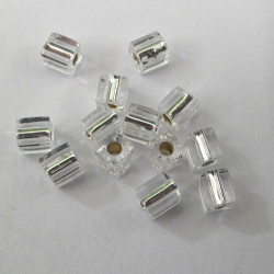 MS001 - Miyuki 4 x 4 mm Cube, Silver Lined, Silver.