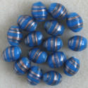 Blue glass, oval beads.