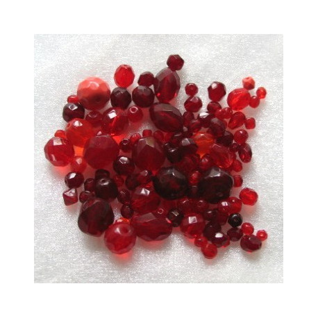 FPMX02-Czech Fire Polished Red glass mix. Pack of 40g.