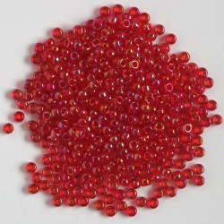Size 8 Toho seed beads, dark ruby AB.