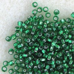 Matsuno silver lined, green, size 11 seed beads.