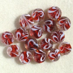 Red glass coin bead, per strand.