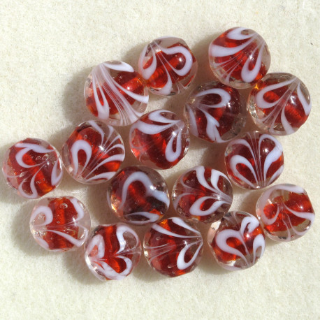 GB6302 - Red Glass Coin Bead, Per Strand.