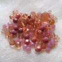 Czech fire polished pink glass mix. Pack of 40g.