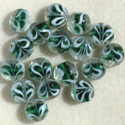 Green glass coin bead, per strand.