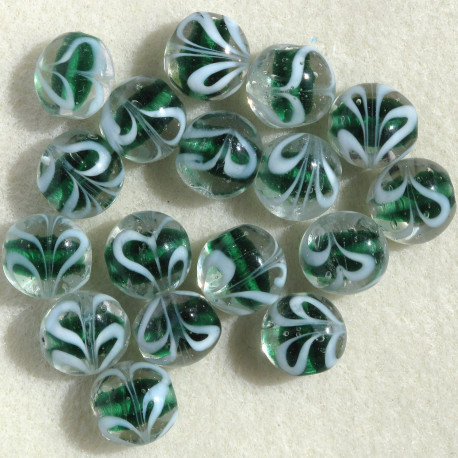 GB6304 - Green Glass Coin Bead, Per Strand.