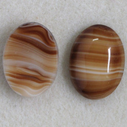 Brown striped, oval glass cabochon pack of 2
