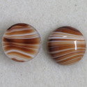 Brown striped, round glass cabochon pack of 2