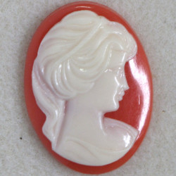 Vintage style, plastic cameo, white on terracotta.