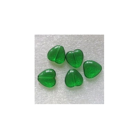 CZ1002 - Emerald Green Glass Heart. Pack of 10