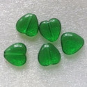 Emerald green glass heart. Pack of 10