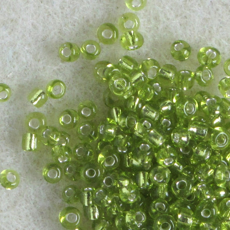 SBSL1108 - Size 11 Silver Lined, Light Green Seed Beads. Pack of 20g.