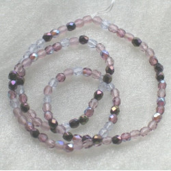 4mm mixed lilac Czech firepolished. Pack of 100.