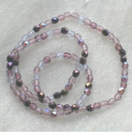 FPMX400 - 4mm Mixed lilac Czech firepolished.  Pack of 100.