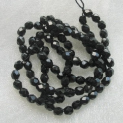 4mm firepolished jet black Czech glass. Pack of 100.