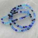 4mm firepolished blue tones mix Czech glass. Pack of 100.