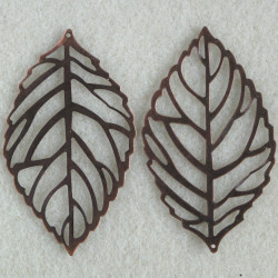 Large copper coloured leaf pendants, pack of 2.