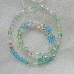 4mm firepolished spring flowers mix Czech glass. Pack of 100.