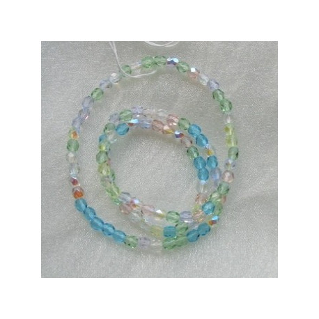 FPMX404 - 4mm Firepolished Spring Flowers Mix Czech Glass. Pack of 100.