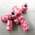 Fimo style red and white tube bead. Pk of 10