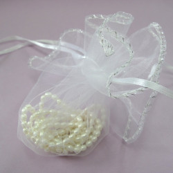 Fancy white organza bag. Pack of 5