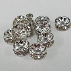 Rondelle with clear stones. 8mm. Pk of 20