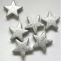 Acrylic silver glitter star beads Pk of 30