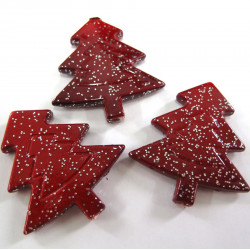 Red glitter Christmas tree beads. Pack of 10