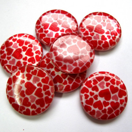 Shell coin bead with heart decoration. Pk of 10