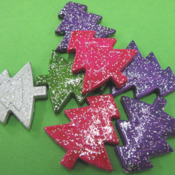 Glitter Christmas tree beads, mixed. Pk of 10