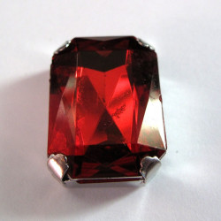 Acrylic ruby stone in metal mount