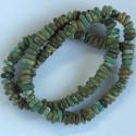 Dyed magnesite, heishi beads, green.