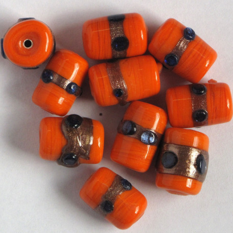 Handmade, orange glass barrel beads.