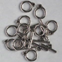 Silver, coloured, small, plain, toggle clasps.