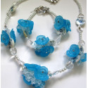 Blue floral and shell necklace kit