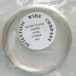 TH5008 - Silver plated copper wire, 0.8mm diameter.  6m length